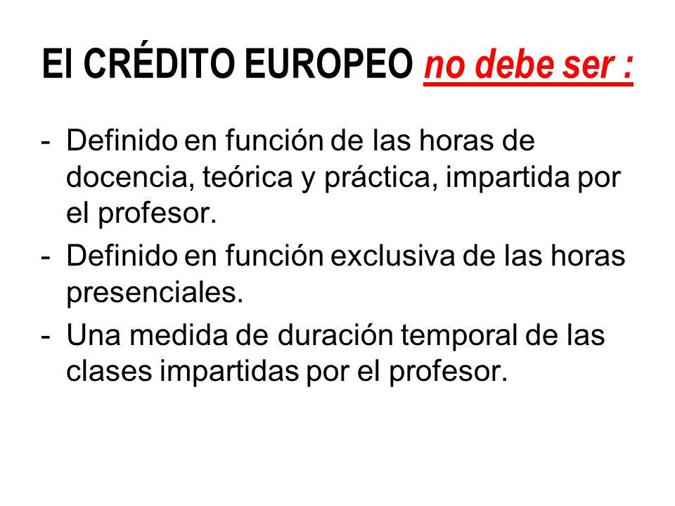 El CRÉDITO EUROPEO no debe ser : -Definido en función de las horas de docencia, teórica y práctica, impartida por el profesor. -Definido en función ex