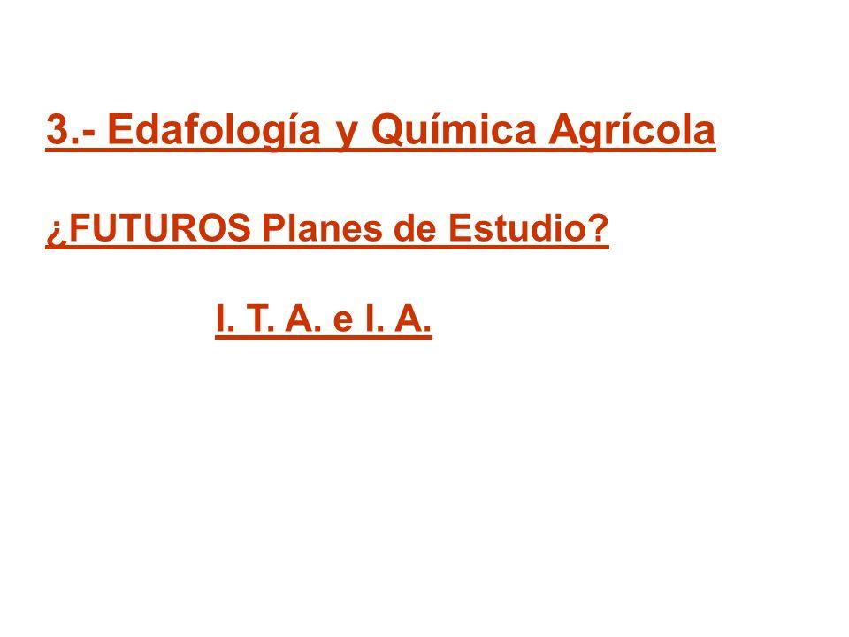 3.- Edafología y Química Agrícola ¿FUTUROS Planes de Estudio? I. T. A. e I. A.