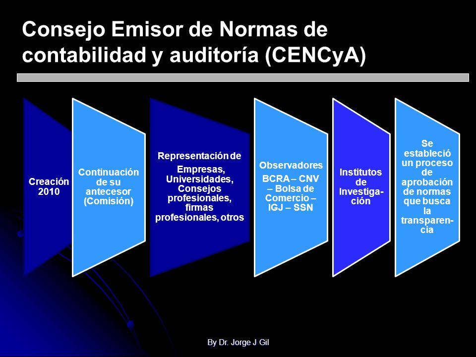 By Dr. Jorge J Gil Consejo Emisor de Normas de contabilidad y auditoría (CENCyA) Creación 2010 Continuación de su antecesor (Comisión) Representación