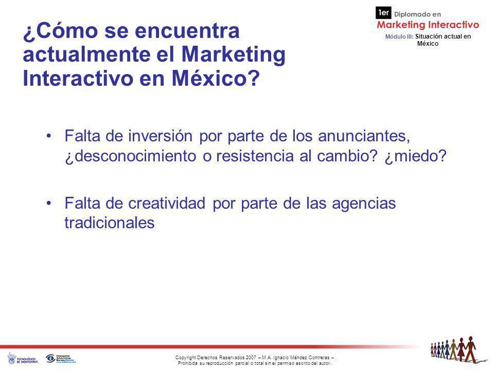 Módulo III: Situación actual en México Copyright Derechos Reservados 2007 – M.A. Ignacio Méndez Contreras – Prohibida su reproducción parcial o total