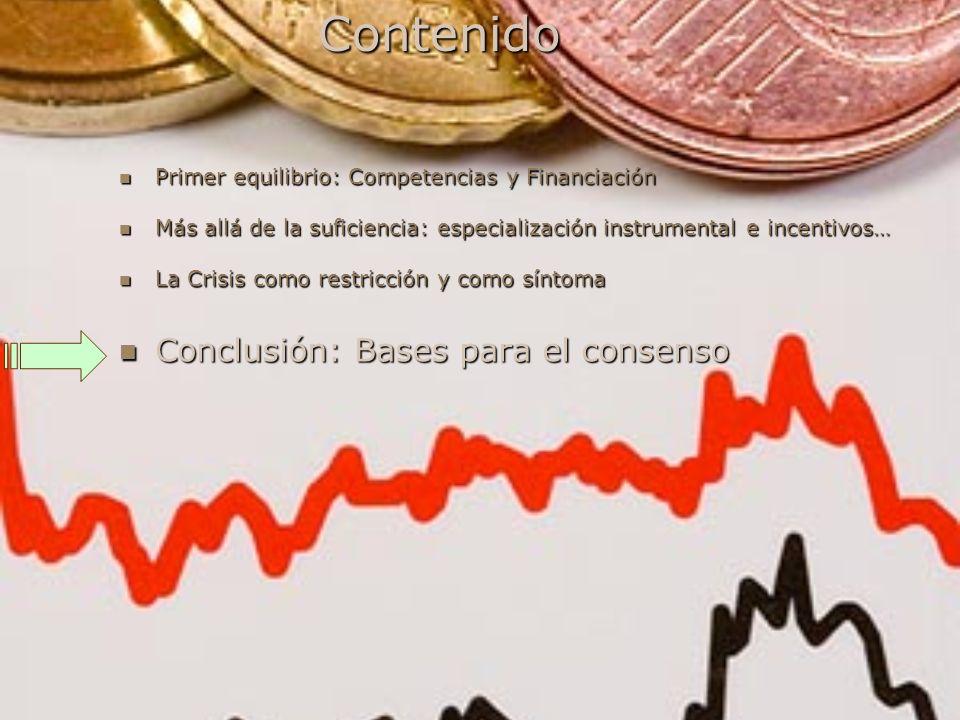 Contenido Primer equilibrio: Competencias y Financiación Primer equilibrio: Competencias y Financiación Más allá de la suficiencia: especialización in