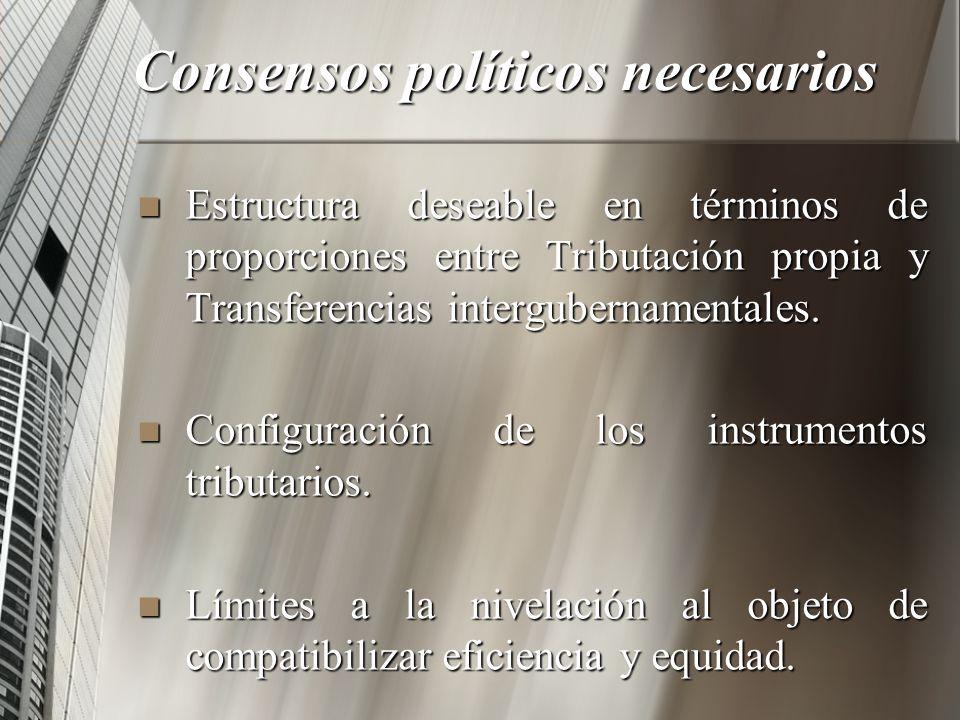 Consensos políticos necesarios Estructura deseable en términos de proporciones entre Tributación propia y Transferencias intergubernamentales. Estruct