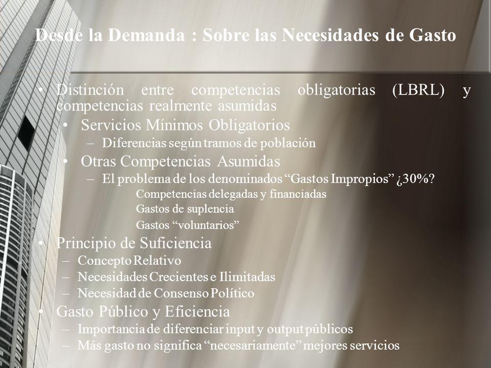 Desde la Demanda : Sobre las Necesidades de Gasto Distinción entre competencias obligatorias (LBRL) y competencias realmente asumidas Servicios Mínimo