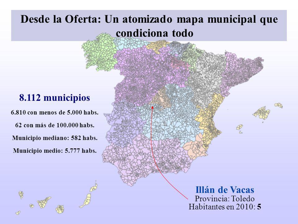 Desde la Oferta: Un atomizado mapa municipal que condiciona todo Illán de Vacas Provincia: Toledo Habitantes en 2010: 5 8.112 municipios 6.810 con men