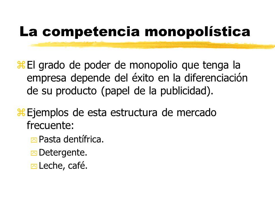zEl grado de poder de monopolio que tenga la empresa depende del éxito en la diferenciación de su producto (papel de la publicidad). zEjemplos de esta