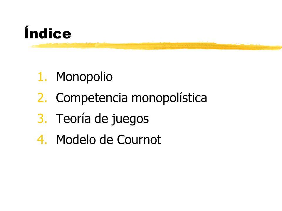 Índice 1.Monopolio 2.Competencia monopolística 3.Teoría de juegos 4.Modelo de Cournot