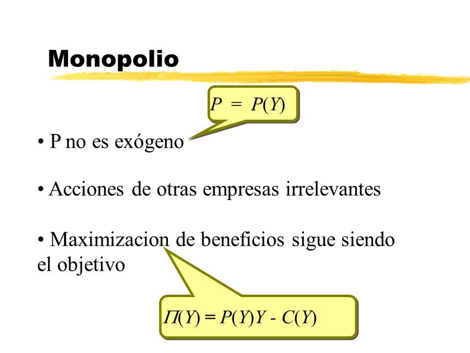 Monopolio P = P(Y) P = P(Y) (Y) = P(Y)Y - C(Y) P no es exógeno Acciones de otras empresas irrelevantes Maximizacion de beneficios sigue siendo el obje