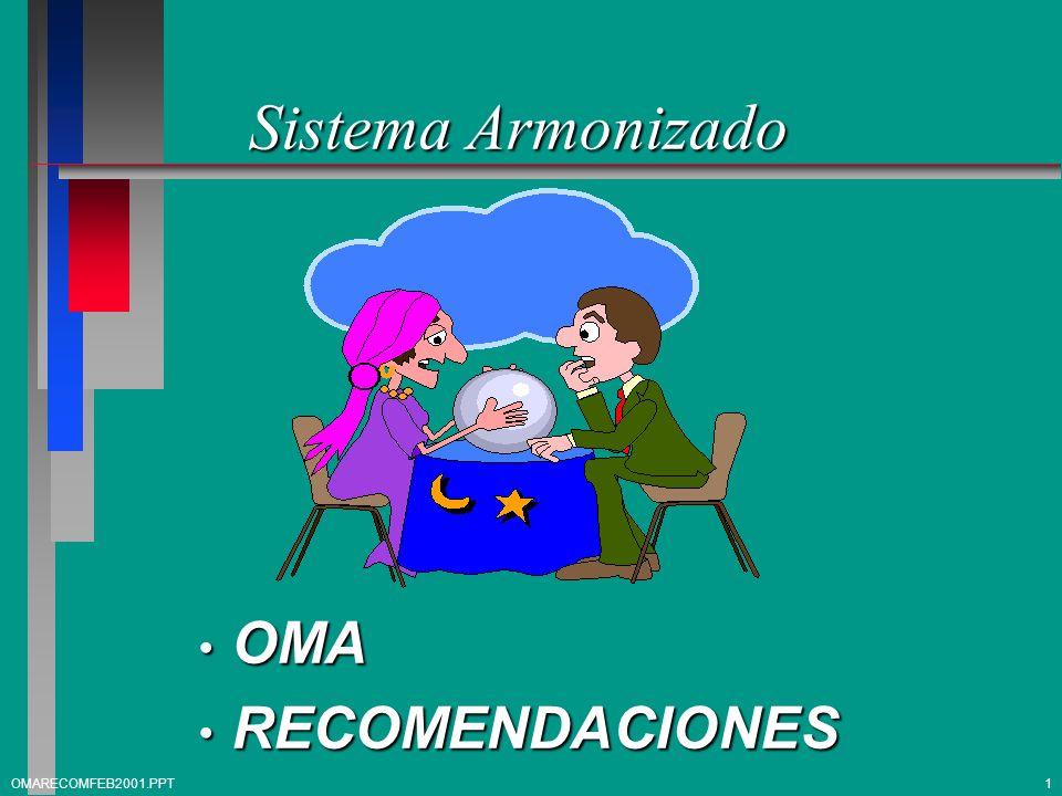 Sistema Armonizado OMA OMA RECOMENDACIONES RECOMENDACIONES 1OMARECOMFEB2001.PPT