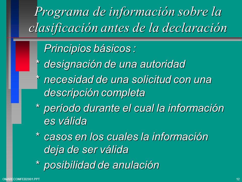 Programa de información sobre la clasificación antes de la declaración Principios básicos : *designación de una autoridad *necesidad de una solicitud