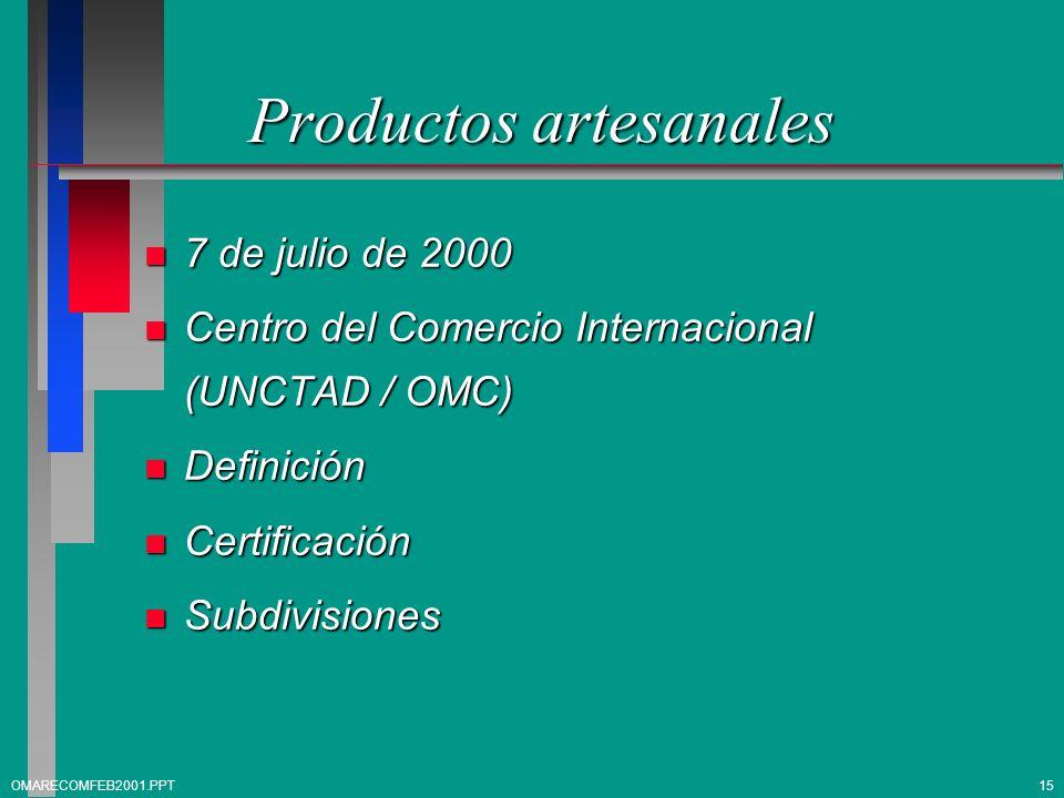 Productos artesanales n 7 de julio de 2000 n Centro del Comercio Internacional (UNCTAD / OMC) n Definición n Certificación n Subdivisiones OMARECOMFEB