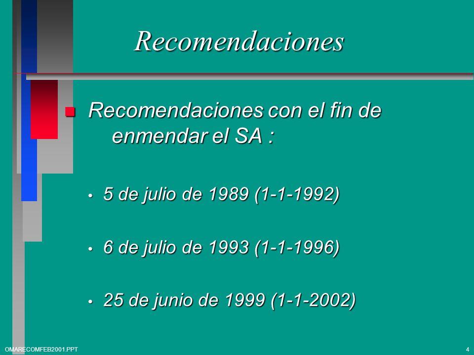 Recomendaciones n Recomendaciones con el fin de enmendar el SA : 5 de julio de 1989 (1-1-1992) 5 de julio de 1989 (1-1-1992) 6 de julio de 1993 (1-1-1