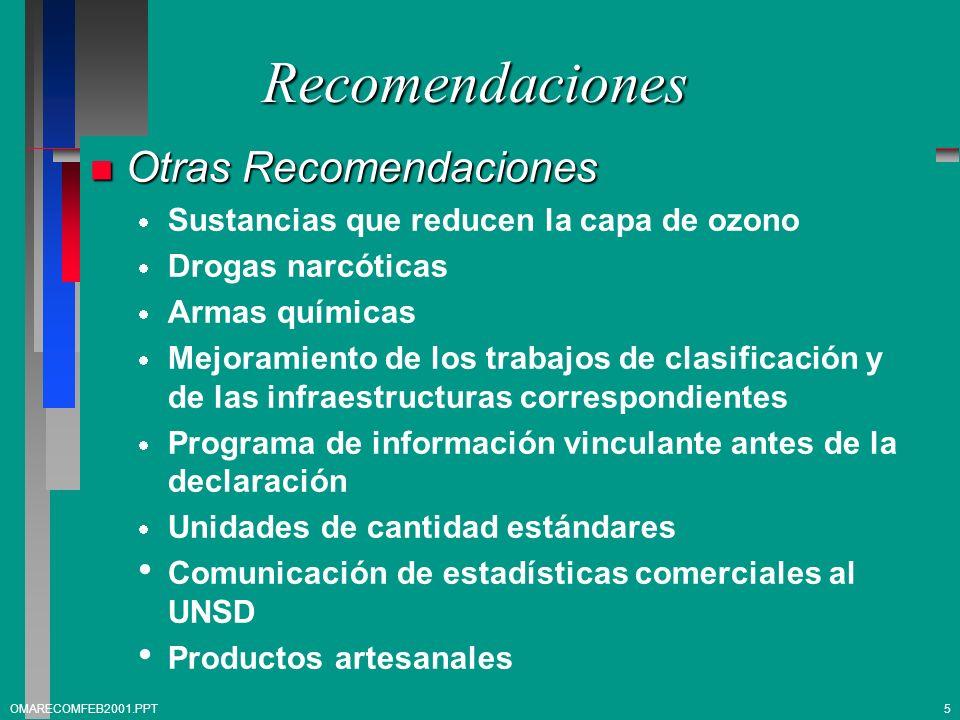 Recomendaciones n Otras Recomendaciones Sustancias que reducen la capa de ozono Drogas narcóticas Armas químicas Mejoramiento de los trabajos de clasi
