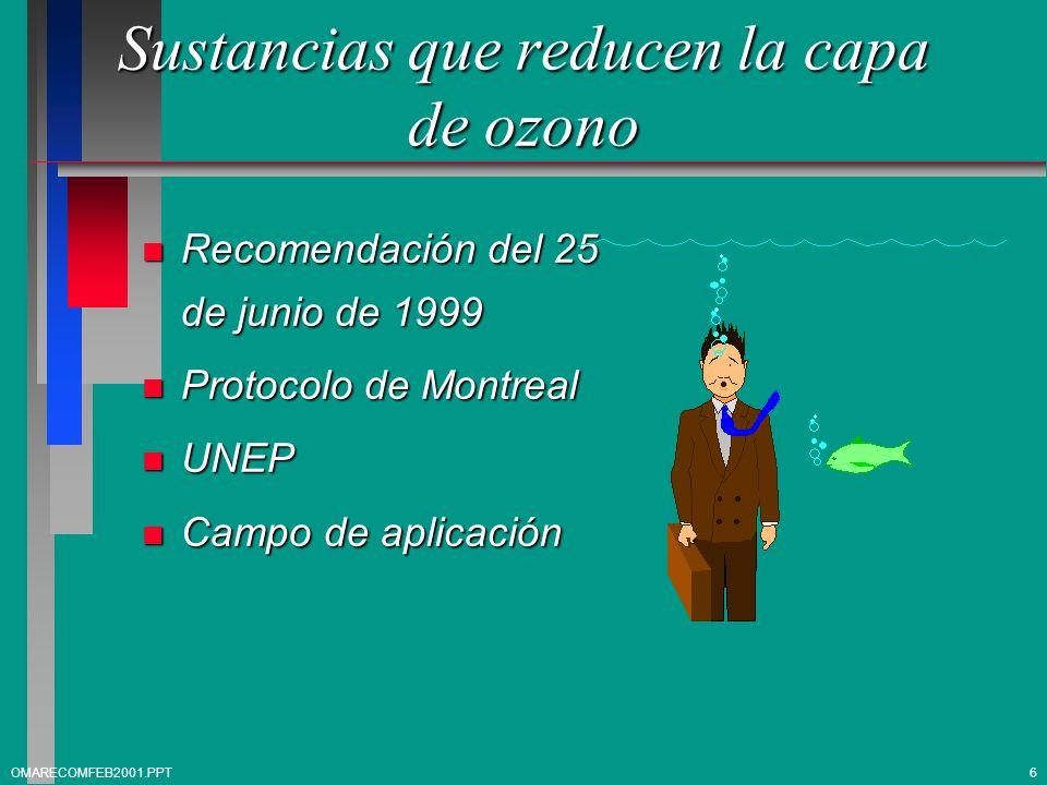 Sustancias que reducen la capa de ozono n Ejemplo 1,1,1-Tricloroetano 1,1,1-Tricloroetano Subpartida 2903.19 Subpartida 2903.19 2903.19 - - Los demás : 2903.19 - - Los demás : 2903.19.10 - - - 1,1,1-Tricloroetano 2903.19.10 - - - 1,1,1-Tricloroetano (metil-cloroformo) (metil-cloroformo) 2903.19.90 - - - Los demás 2903.19.90 - - - Los demás 7OMARECOMFEB2001.PPT