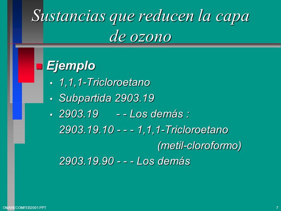 Sustancias que reducen la capa de ozono n Ejemplo 1,1,1-Tricloroetano 1,1,1-Tricloroetano Subpartida 2903.19 Subpartida 2903.19 2903.19 - - Los demás