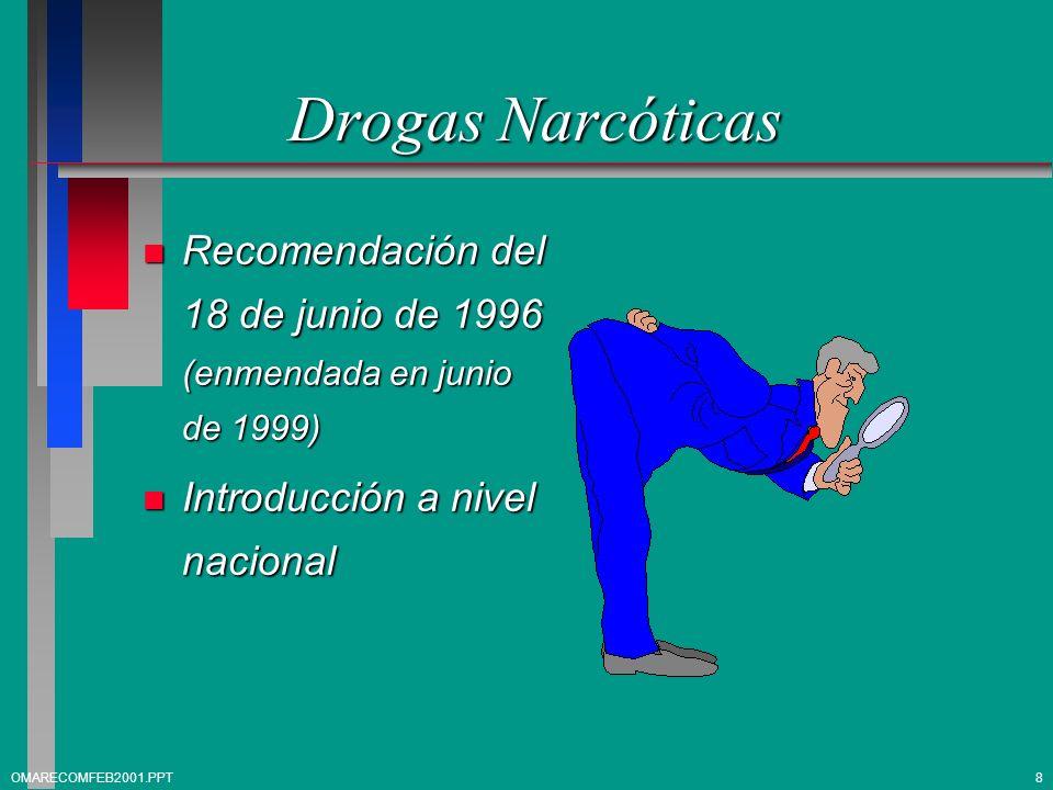 Drogas Narcóticas n Recomendación del 18 de junio de 1996 (enmendada en junio de 1999) n Introducción a nivel nacional 8OMARECOMFEB2001.PPT