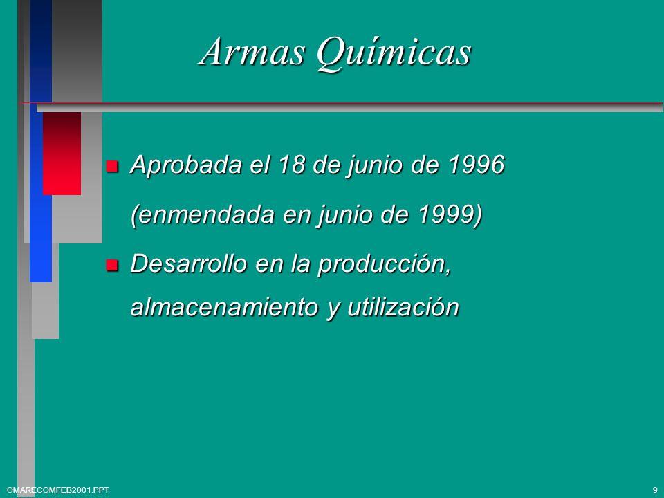 Armas Químicas n Aprobada el 18 de junio de 1996 (enmendada en junio de 1999) n Desarrollo en la producción, almacenamiento y utilización OMARECOMFEB2