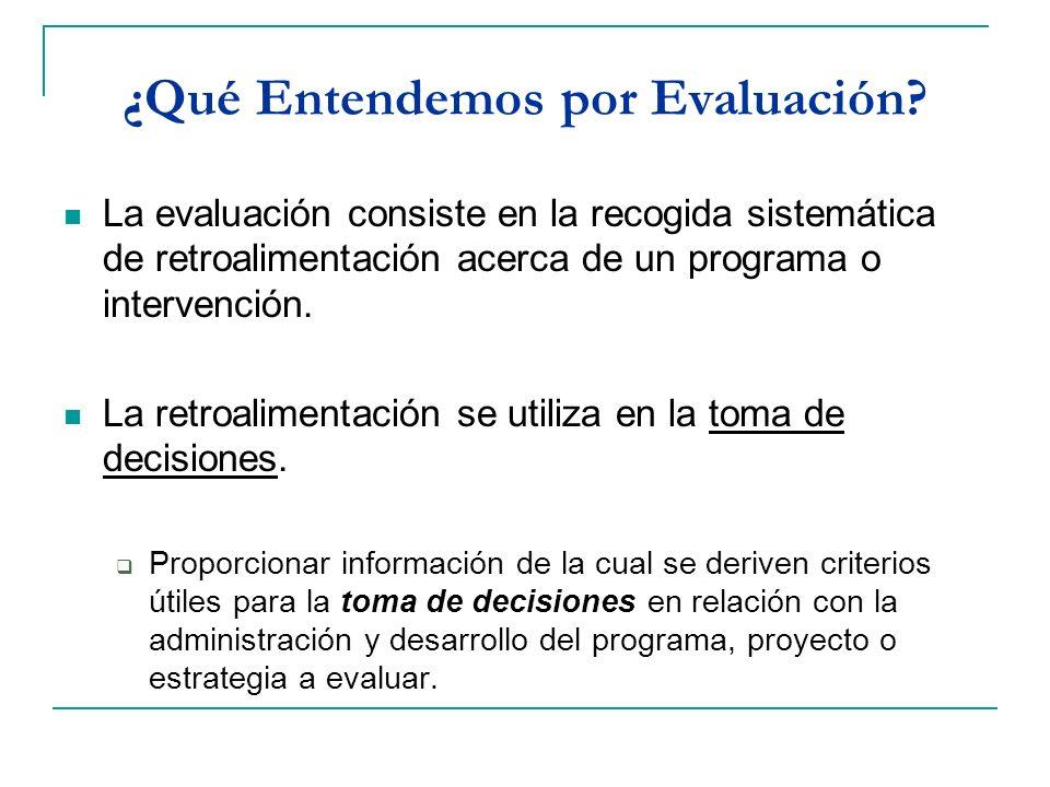 ¿Qué Entendemos por Evaluación? La evaluación consiste en la recogida sistemática de retroalimentación acerca de un programa o intervención. La retroa