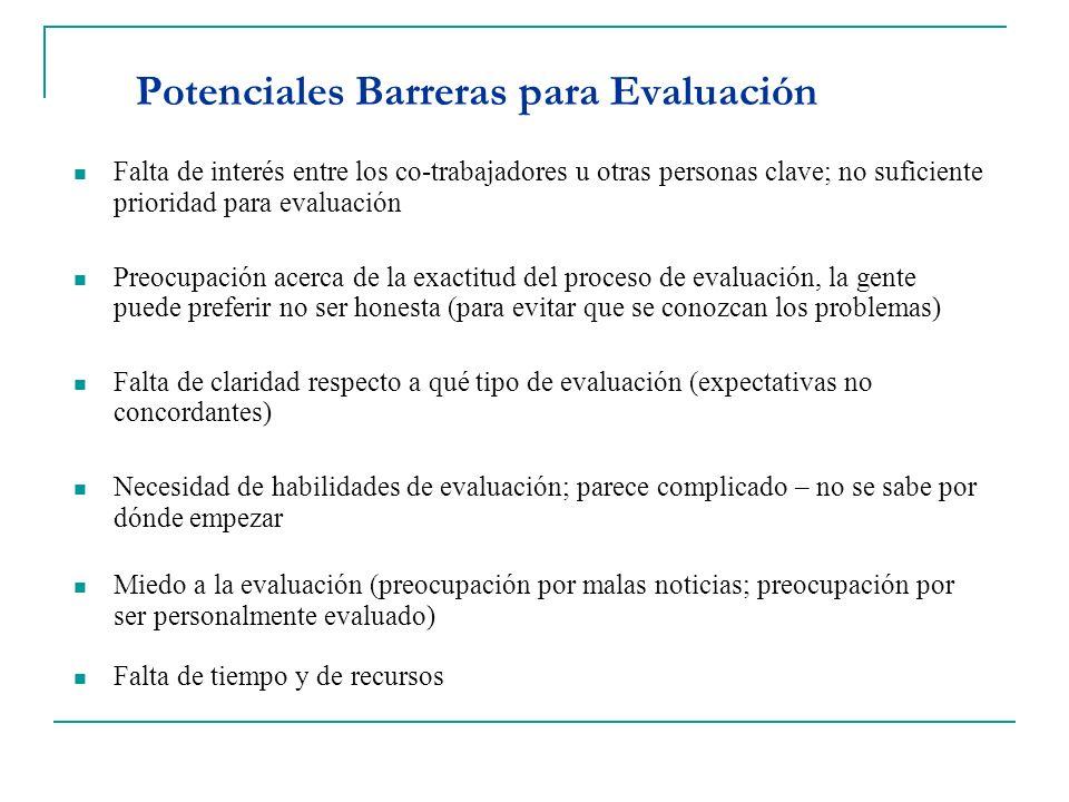 Potenciales Barreras para Evaluación Falta de interés entre los co-trabajadores u otras personas clave; no suficiente prioridad para evaluación Preocu