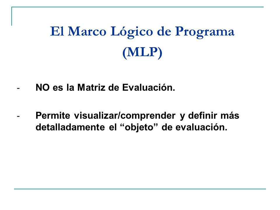 El Marco Lógico de Programa (MLP) - NO es la Matriz de Evaluación. - Permite visualizar/comprender y definir más detalladamente el objeto de evaluació