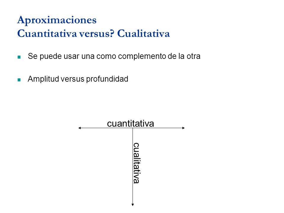 Aproximaciones Cuantitativa versus? Cualitativa Se puede usar una como complemento de la otra Amplitud versus profundidad cuantitativa cualitativa