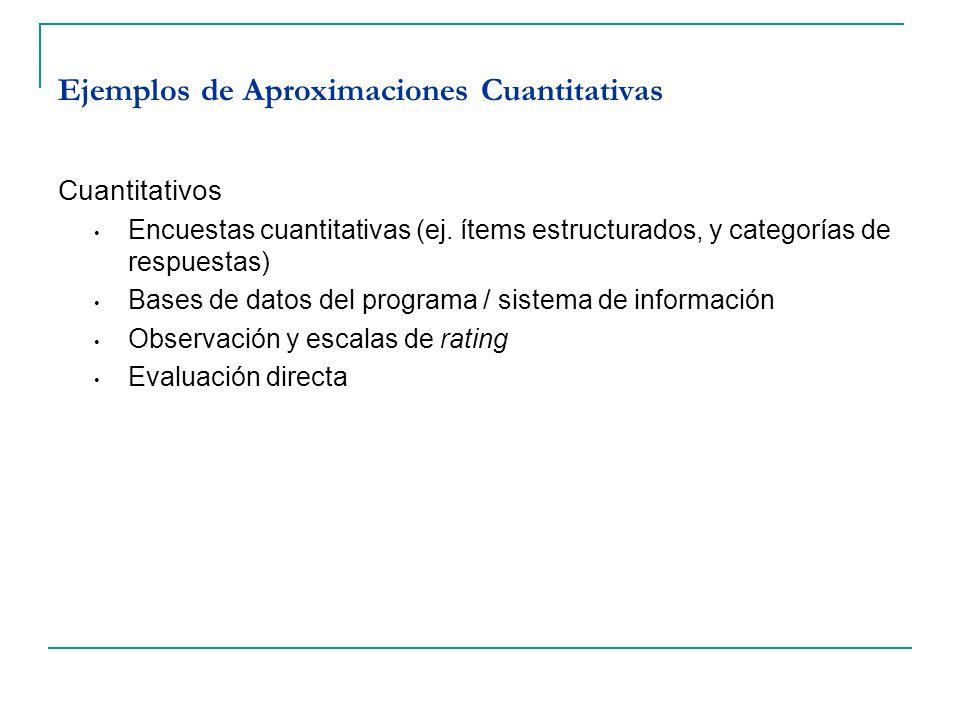 Ejemplos de Aproximaciones Cuantitativas Cuantitativos Encuestas cuantitativas (ej. ítems estructurados, y categorías de respuestas) Bases de datos de