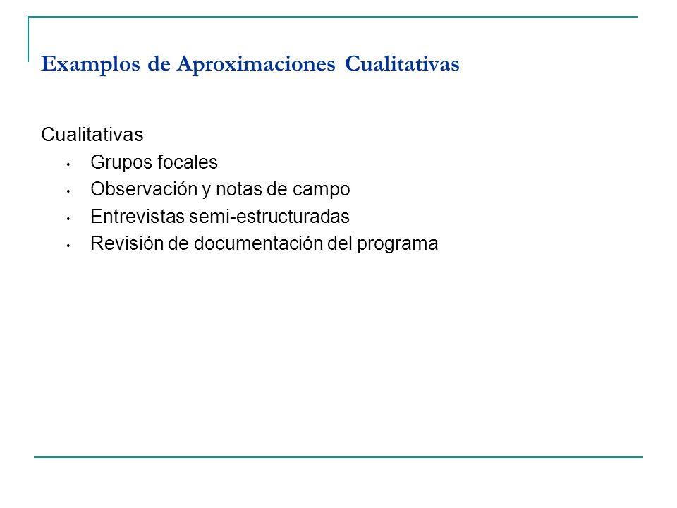 Examplos de Aproximaciones Cualitativas Cualitativas Grupos focales Observación y notas de campo Entrevistas semi-estructuradas Revisión de documentac