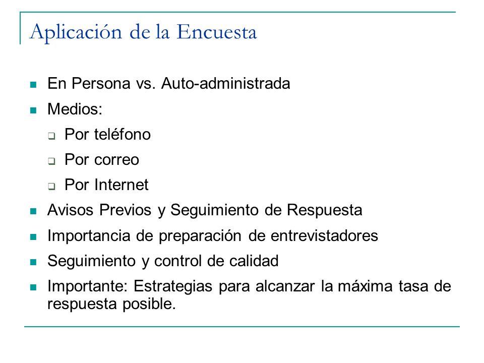 Aplicación de la Encuesta En Persona vs. Auto-administrada Medios: Por teléfono Por correo Por Internet Avisos Previos y Seguimiento de Respuesta Impo