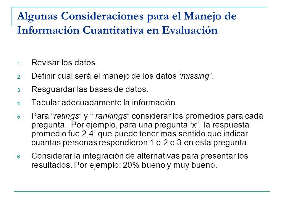 Algunas Consideraciones para el Manejo de Información Cuantitativa en Evaluación 1. Revisar los datos. 2. Definir cual será el manejo de los datos mis