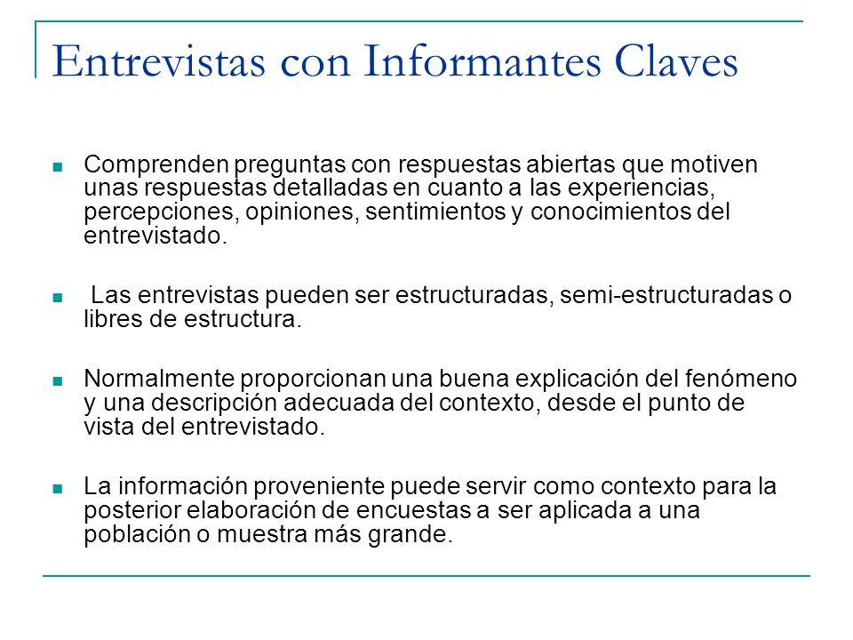 Entrevistas con Informantes Claves Comprenden preguntas con respuestas abiertas que motiven unas respuestas detalladas en cuanto a las experiencias, p