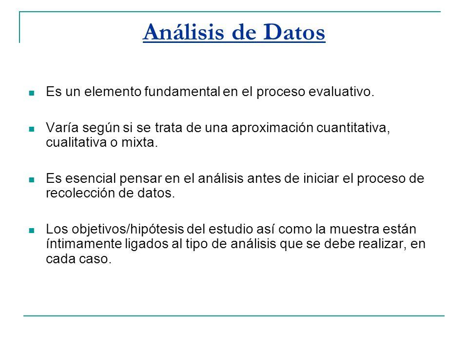 Análisis de Datos Es un elemento fundamental en el proceso evaluativo. Varía según si se trata de una aproximación cuantitativa, cualitativa o mixta.