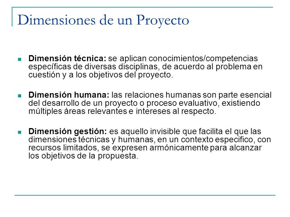 Dimensiones de un Proyecto Dimensión técnica: se aplican conocimientos/competencias específicas de diversas disciplinas, de acuerdo al problema en cue