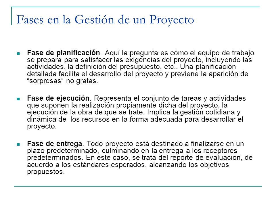 Fases en la Gestión de un Proyecto Fase de planificación. Aquí la pregunta es cómo el equipo de trabajo se prepara para satisfacer las exigencias del