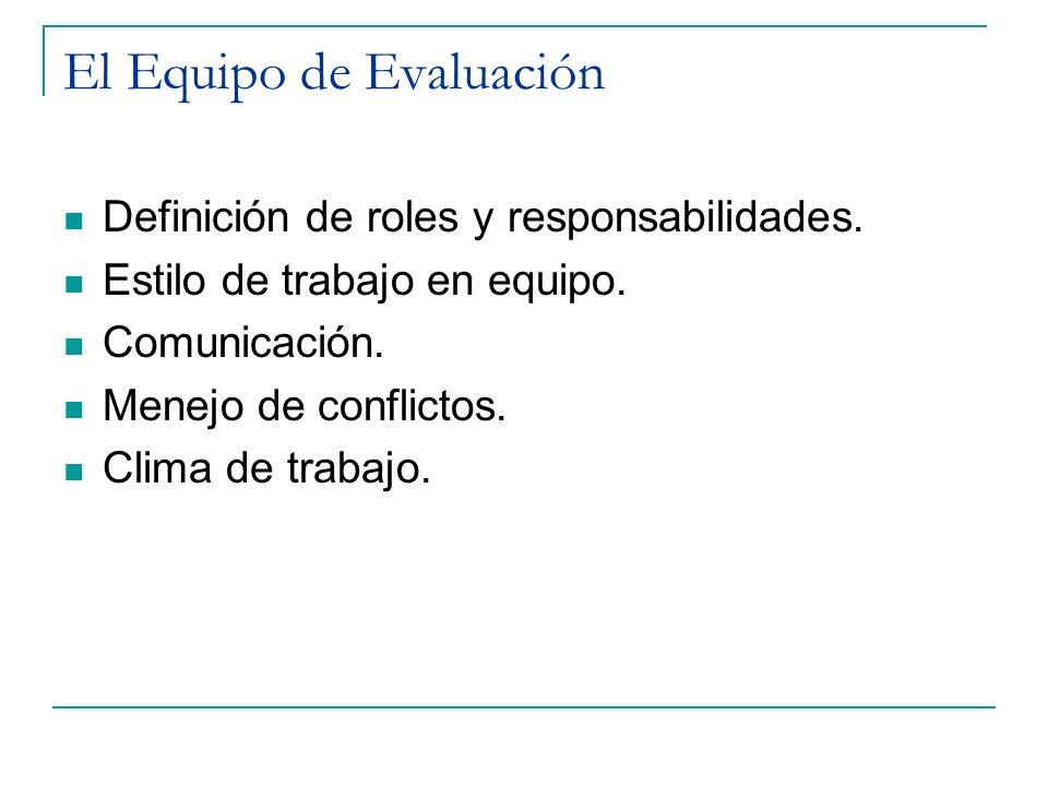 El Equipo de Evaluación Definición de roles y responsabilidades. Estilo de trabajo en equipo. Comunicación. Menejo de conflictos. Clima de trabajo.