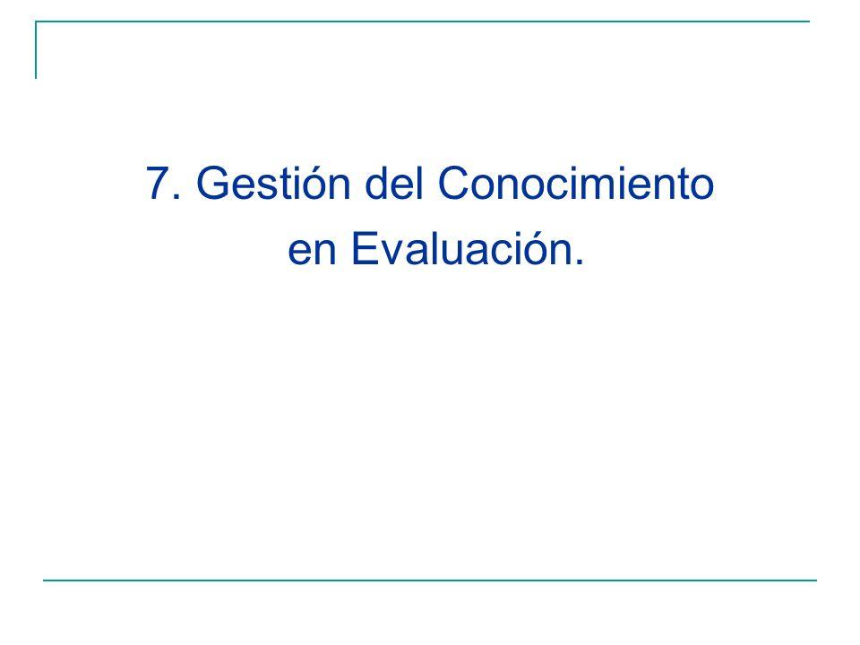 7. Gestión del Conocimiento en Evaluación.