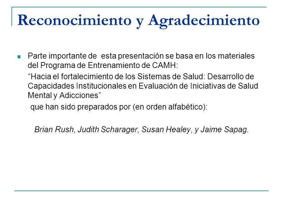 Reconocimiento y Agradecimiento Parte importante de esta presentación se basa en los materiales del Programa de Entrenamiento de CAMH: Hacia el fortal