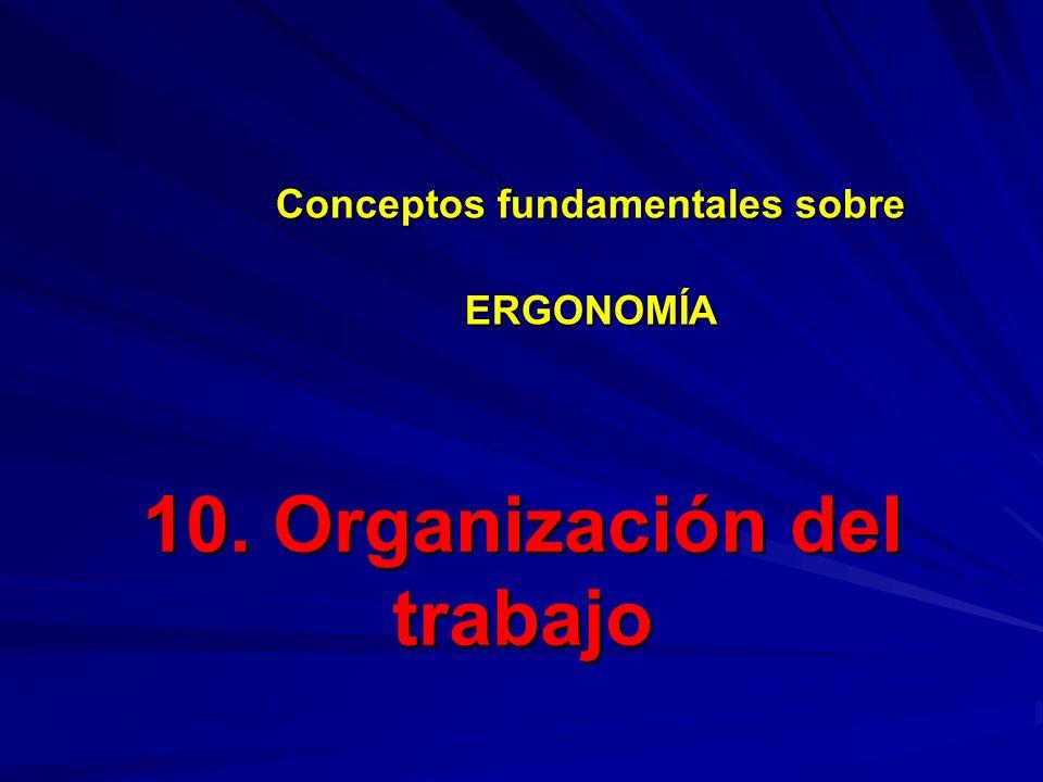 10. Organización del trabajo Conceptos fundamentales sobre ERGONOMÍA