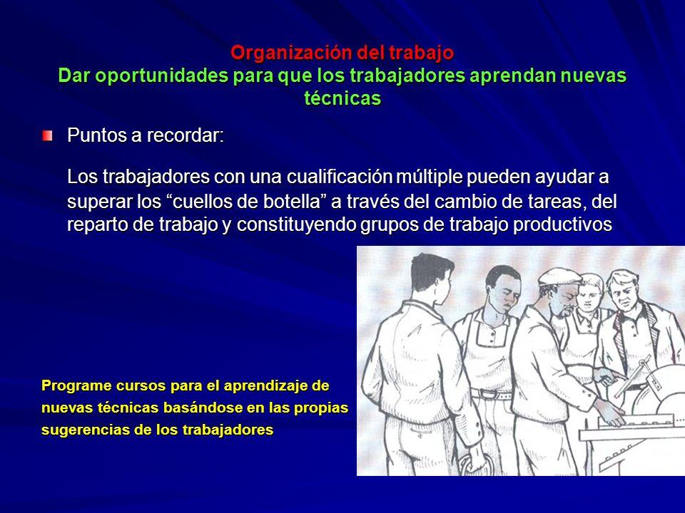 Organización del trabajo Dar oportunidades para que los trabajadores aprendan nuevas técnicas Organización del trabajo Dar oportunidades para que los