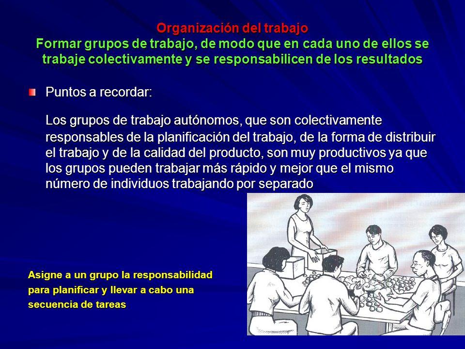 Organización del trabajo Formar grupos de trabajo, de modo que en cada uno de ellos se trabaje colectivamente y se responsabilicen de los resultados O