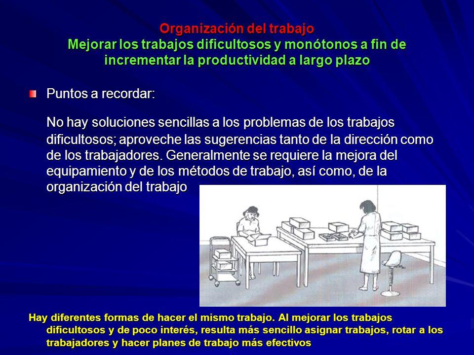 Organización del trabajo Mejorar los trabajos dificultosos y monótonos a fin de incrementar la productividad a largo plazo Organización del trabajo Me