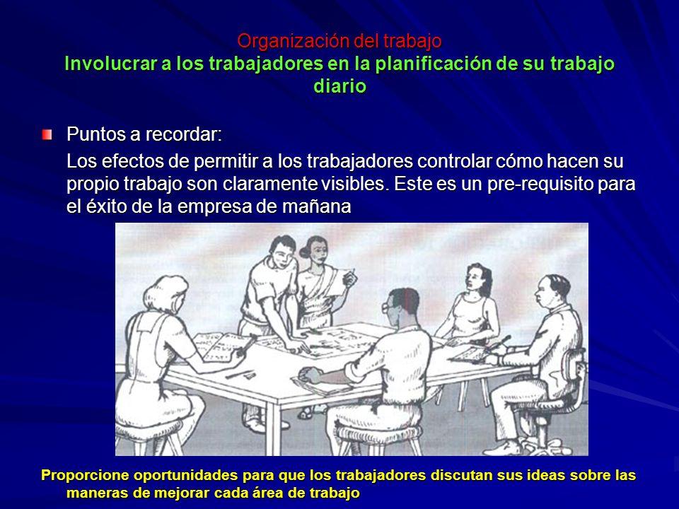 Organización del trabajo Involucrar a los trabajadores en la planificación de su trabajo diario Organización del trabajo Involucrar a los trabajadores