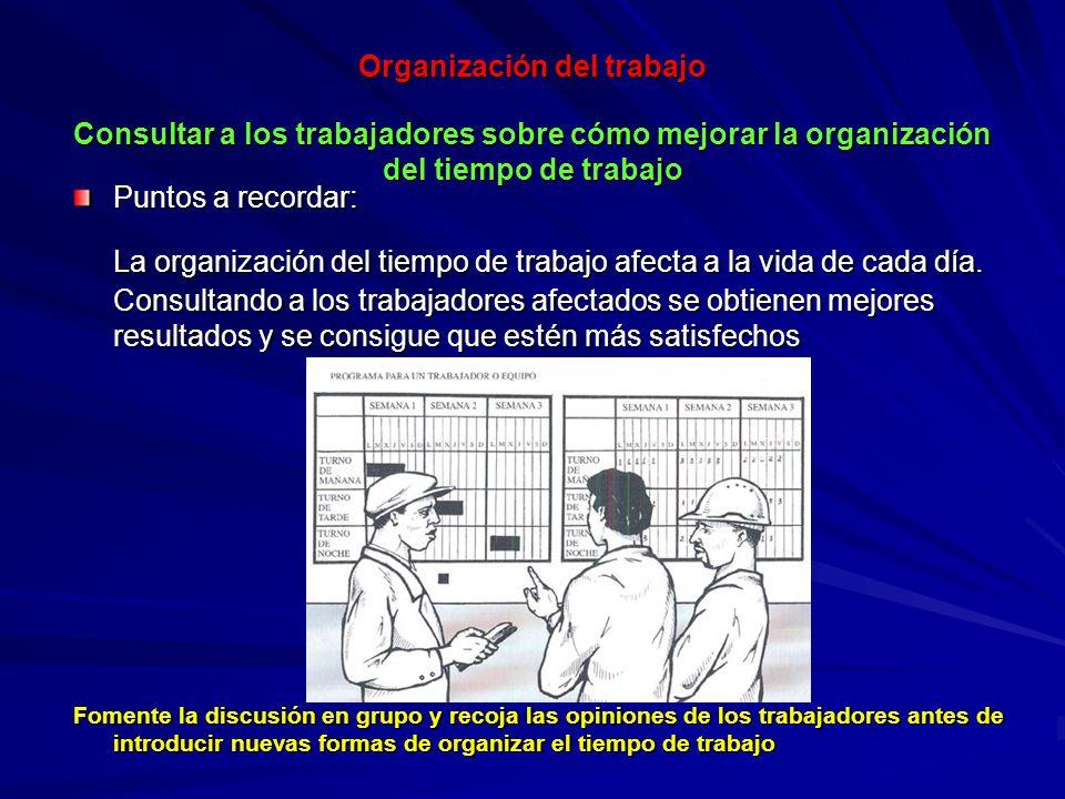 Organización del trabajo Consultar a los trabajadores sobre cómo mejorar la organización del tiempo de trabajo Organización del trabajo Consultar a lo