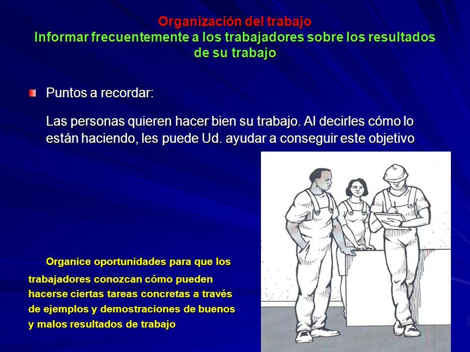 Organización del trabajo Informar frecuentemente a los trabajadores sobre los resultados de su trabajo Organización del trabajo Informar frecuentement