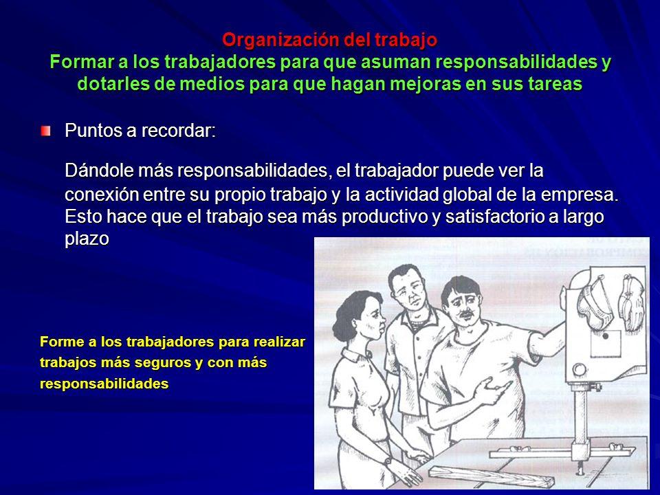 Organización del trabajo Formar a los trabajadores para que asuman responsabilidades y dotarles de medios para que hagan mejoras en sus tareas Organiz