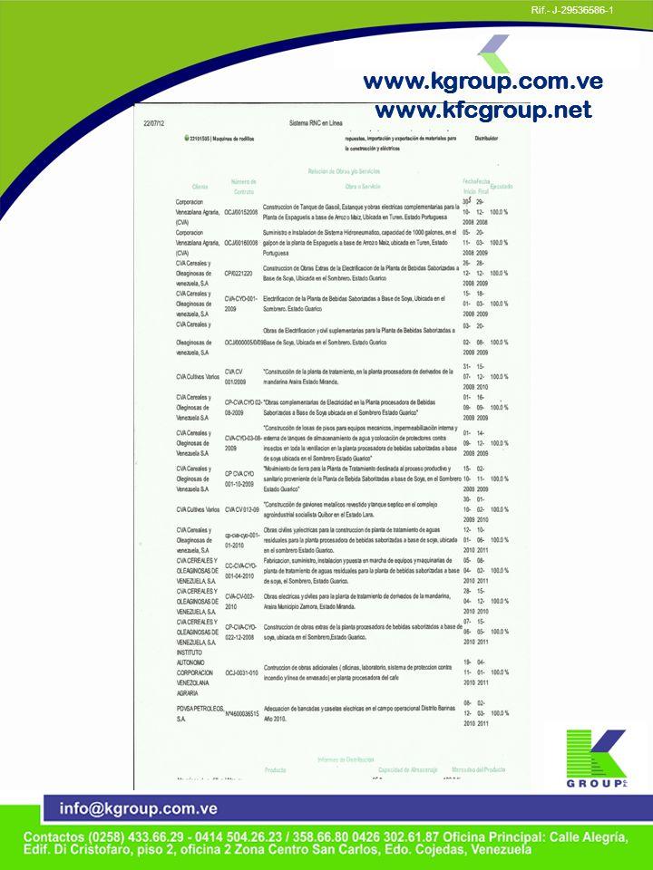 www.kgroup.com.ve www.kfcgroup.net Rif.- J-29536586-1