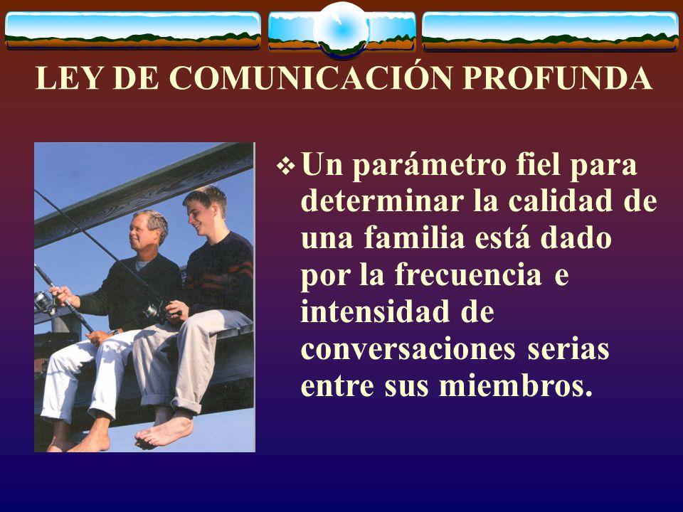 LEY DE COMUNICACIÓN PROFUNDA Un parámetro fiel para determinar la calidad de una familia está dado por la frecuencia e intensidad de conversaciones serias entre sus miembros.
