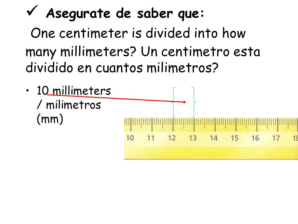 The shorter lines on the metric ruler are called… Las lineas más cortas en la regla métrica son llamadas Millimeters / Milimetros