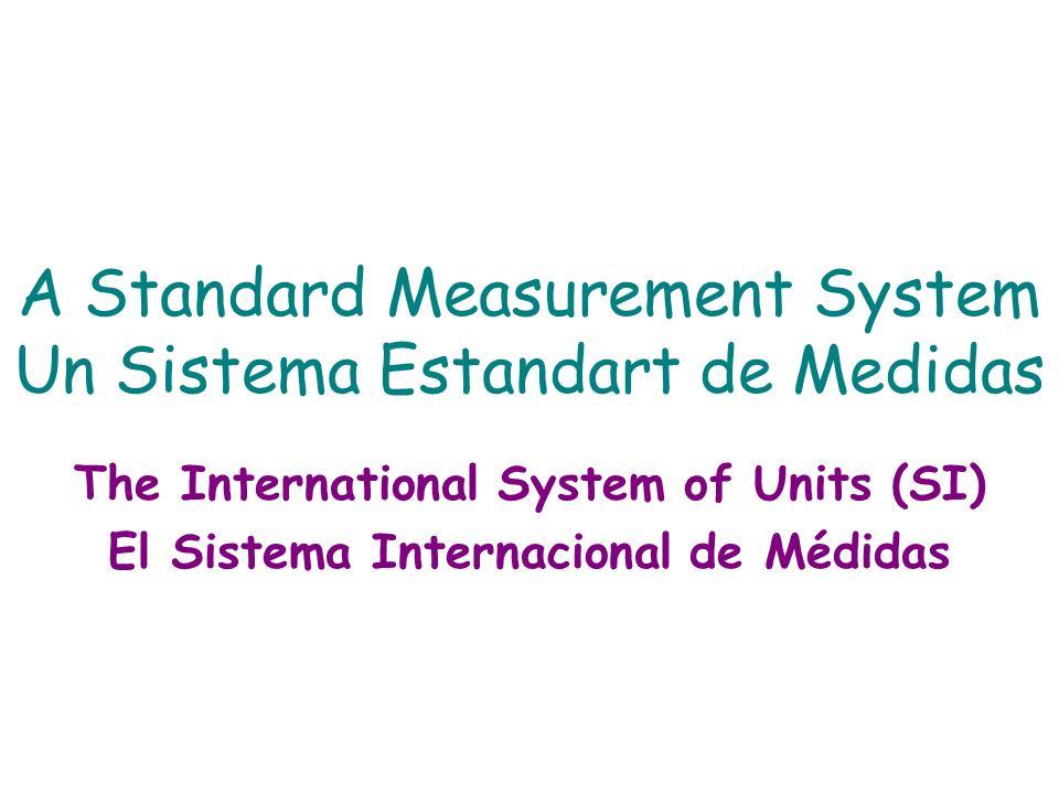 A Standard Measurement System Un Sistema Estandart de Medidas The International System of Units (SI) El Sistema Internacional de Médidas