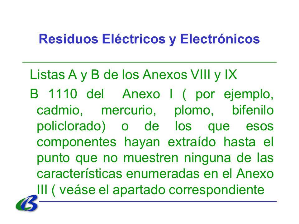 Residuos Eléctricos y Electrónicos Listas A y B de los Anexos VIII y IX B 1110 del Anexo I ( por ejemplo, cadmio, mercurio, plomo, bifenilo policlorad