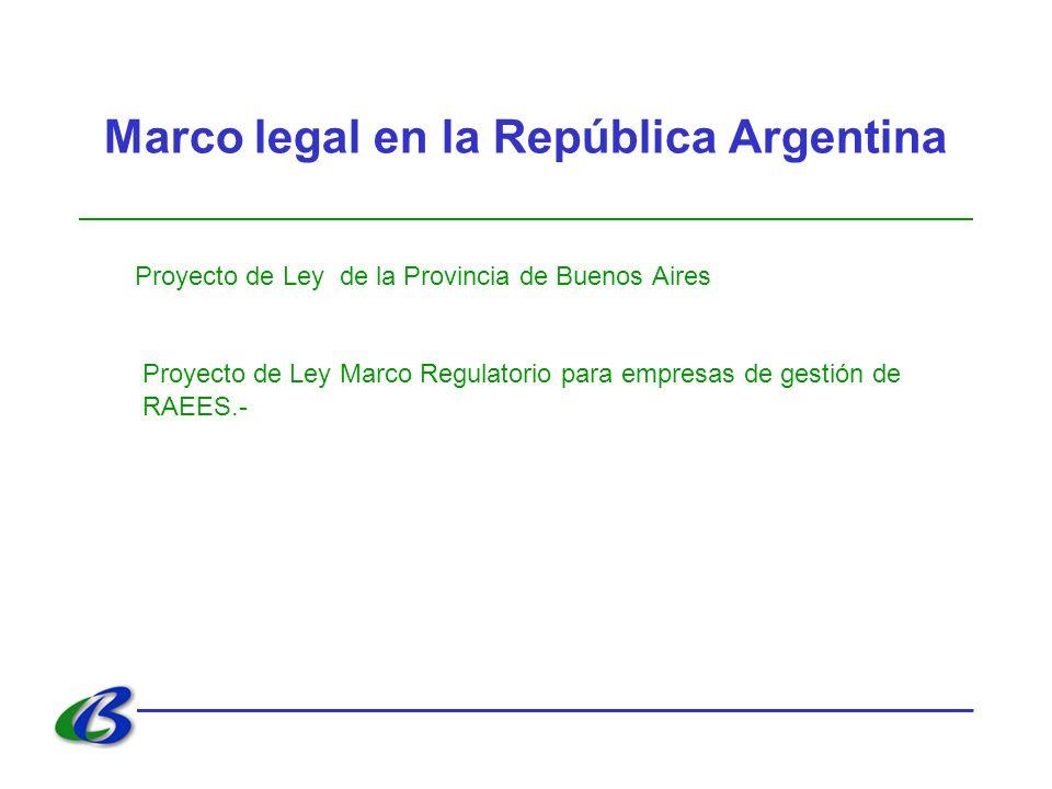 Marco legal en la República Argentina Proyecto de Ley de la Provincia de Buenos Aires Proyecto de Ley Marco Regulatorio para empresas de gestión de RA