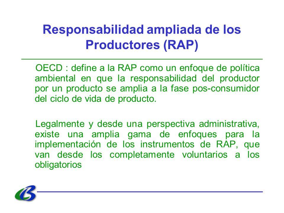 Responsabilidad ampliada de los Productores (RAP) OECD : define a la RAP como un enfoque de política ambiental en que la responsabilidad del productor